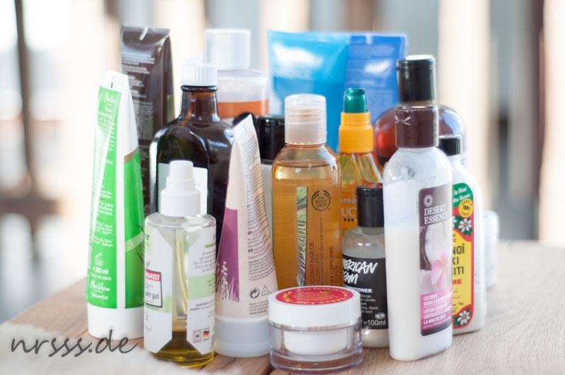 Alle Schubladen geleert und alles, was ich irgendwie für die Haare benutze mal zusammen gestellt - ganz schön viel...